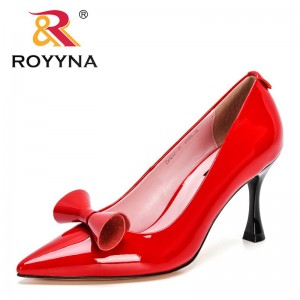 ROYYNA 2021 New Designers Luxury Brand Shoes Women Genuine Leather Pointed Toe ClassicThin Heel Lady Wedding Dress Office Shoes