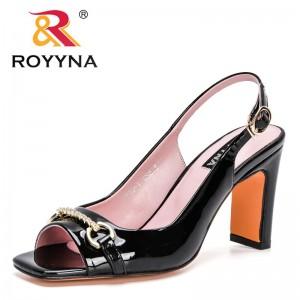 ROYYNA 2021 New Designers Open Toe Genuine Leather Sandal Women High Heel Sandalias Bridal Buckle Strap Pumps Ladies Dress Shoes