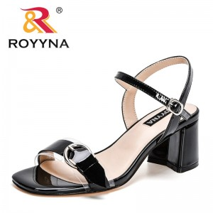 ROYYNA 2021 New Designers Genuine Leather Sandals Women Outdoor Summer Shoes Buckle Strap Woman High Heels Slippers Feminimo