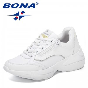BONA 2021 New Designers Popular Sneakers Dad Shoes Women Thick Heel Shoes Ladies Casual Shoes Breathable Platform Shoes Feminimo