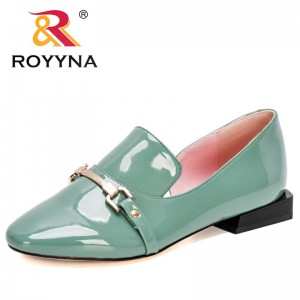 ROYYNA 2021 New Designers Classics Shallow Square heel Pumps Women Buckle Strap Round Toe Lady Footwear Patent Leather Shoes