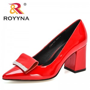 ROYYNA 2021 New Designers Genuine Leather Party Wedding Shoes Women High Heels Pumps Ladies Pointed Toe Bling Office Shoes Woman