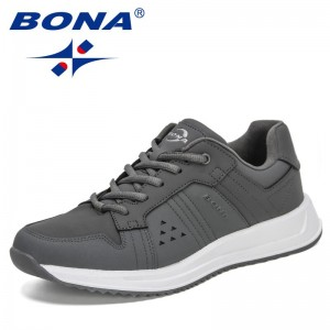 BONA 2021 New Designers Classics Sneakers Men Nubuck Leather Breathable Flats Casual Shoes Man Lace Up Luxury Brand Walking Shoe