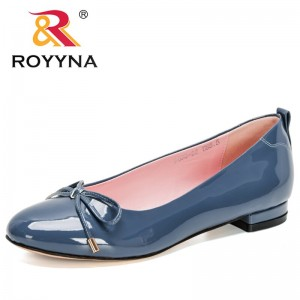 ROYYNA 2021 New Designers Flat Shoes All-match Comfortable Pumps Women Bowknot Casual Shoes Adult Office Work Footwear Feminimo