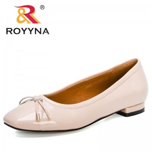 ROYYNA 2021 New Designers Popular Loafers Luxury Brand Bowknot Women Boat Shoes Party Wedding Dress Flats Shoes Ladies Comfort