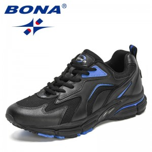 BONA 2021 New Designers Action Leather Mesh Jogging Shoes Men Breathable Running Shoes Walking Sports Sneakers Athletic Trainers