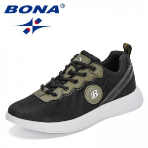 BONA 2021 New Designers Mesh Comfortable Casual Sneakers Man Classic Canvas Shoes Outdoor Leisure Footwear for Men Walking Shoes
