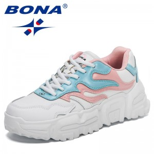 BONA 2021 New Designers Fashion Vulcanized Shoes Lace Up Ladies Platform Casual Comfort Shoes Women Chunky Sneakers Feminimo