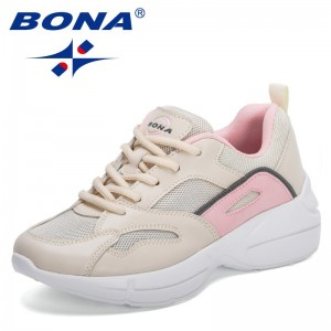 BONA 2021 New Designers Comfortable Mesh Breathable Non-Slipper Sneakers Women Light Weight Travel Walking Shoes Ladies Trendy