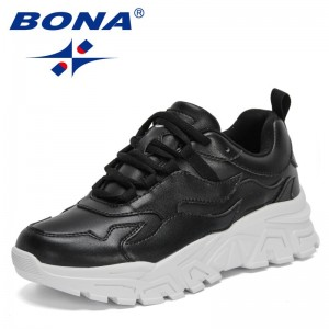 BONA 2021 New Designers Chunky Sneakers Women Solid Color Platform Shoes Thick Bottom Woman Vulcanized Shoes Zapatos De Mujer