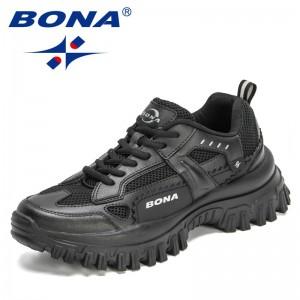 BONA 2021 New Designers Platform Breathable Men Chunky Sneakers Height Increasing Adult Casual Shoes Leisure Footwear Mansculino