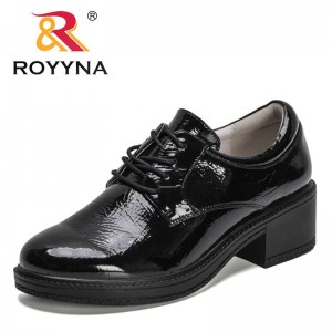 ROYYNA 2021 New Designers Genuine Leather Lace Up Pumps Women Square Heel Round Toe British Style Shoes Ladies Office Dress Shoe
