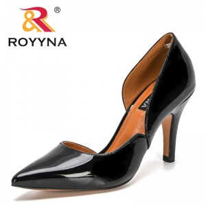 ROYYNA 2021 New Designers Genuine Patent Leather Classical Women Pumps Stiletto Women's Shoes High Heels For Party Wedding Shoes
