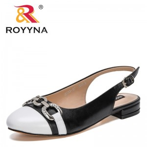 ROYYNA 2021 New Designers Fashion Sandals Slippers Women Round Toe Slip On Lower Heels Shoes Hollow Sandals Slides Feminimo