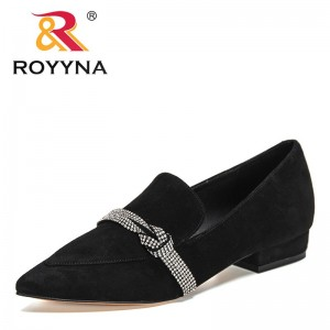 ROYYNA 2021 New Designers Genuine Leather Luxury Brand Elegant Shoes Woman Wedding Shoes Black Lower Heels Office Shoes Ladies