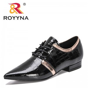 ROYYNA 2021 New Designers Pointed Toe Patent Leather Pumps Women Lower Heels Lace Up Ladies Shoes Office Dress Shoes Feminimo