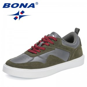 BONA 2021 New Designers Classics Fashion Brand Vulcanized Shoes Men Lace-up Casual Shoes Man Light Sneakers Mansculino Comfort