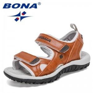 BONA 2021 New Designers Summer Fashion Kids Sandals Flat Sandals Boys Summer Shoes Teenager Sports Sandals Children Comfortable