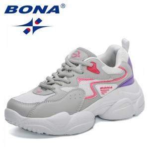BONA 2021 New Designers Trendy Chunky Sneakers Women Thick Bottom Platform Vulcanize Shoes Ladies Fashion Casual Footwear Woman