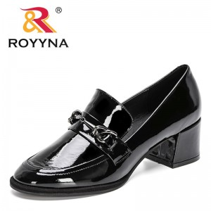 ROYYNA 2021 New Designers Genuine Patent Leather High Heels Women Fashion Black Shoes Party Office Pumps Wedding Shoes Ladies