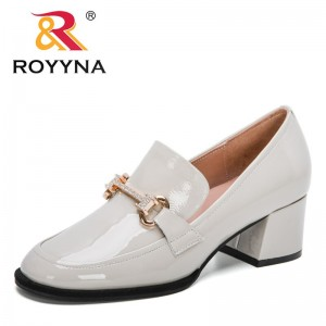 ROYYNA 2021 New Designers Genuine Patent Leather Classics Thick Heel Women Shoes Square Toe Dress Work Pumps Ladies Wedding Shoe