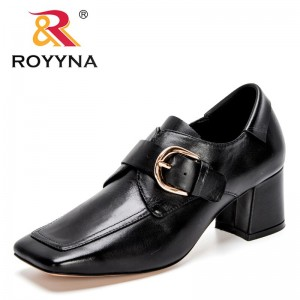 ROYYNA 2021 New Designers Genuine Leather Pumps Block Stable High Heels Female Classic Buckle Thick Pumps Lady Office Dress Shoe