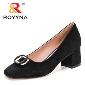 ROYYNA 2021 New Designers Thick Heels Pumps for Women Genuine Leather Kid Suede Office Party Shoes Ladies Wedding Shoes Feminimo
