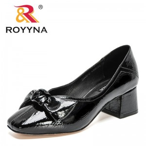 ROYYNA 2021 New Designers Genuine Patent Leather Boat Shoes Women Square Toe Butterfly-Nkot Ladies Shoes Bow Pumps Chunky Heeled