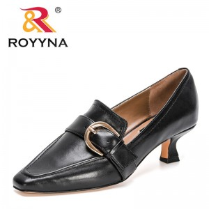 ROYYNA 2021 New Designers Genuine Leather Pumps Women Buckle Slip-on Loafer Shoes Ladies Office Casual Daily Heels Shoes Woman