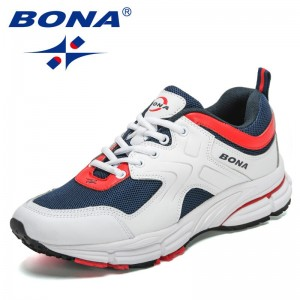 BONA 2021 New Designers Action Leather Mesh Walking Shoes Men Running Shoes Man Trainers Athletic Shoes Mansculino Jogging Shoes