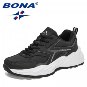 BONA 2021 New Designers Action Leather Casual Sneakers Fashion Brand Men Chunky Shoes Street Style Hard-wearing Runnnig Shoes