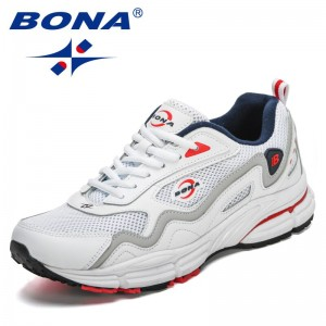 BONA 2021 New Designers Action Leather Mesh Running Shoes Men Comfortable Fitness Sports Shoes Walking Shoes Man Casual Sneakers