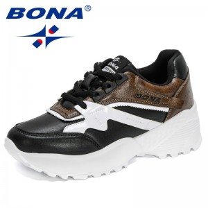 BONA 2021 New Designers Classics Luxury Brand Vulcanized Shoes Women Sneakers Chunky Platform High Quality Casual Shoes Ladies
