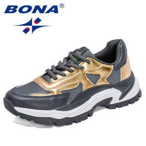 BONA 2021 New Designers Luxurious Chunky Sneakers Shoes Women High-Quality Thick Sole Brand Leisure Footwear Feminimo Comfort