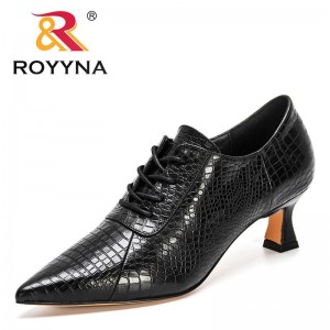ROYYNA 2021 New Designers Lace Up High Heels Pointed Toe Dress Shoes Women Genuine Leather Office Dress Shoes Black Botas Mujer