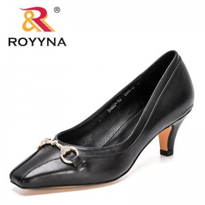 ROYYNA 2021 New Designers Genuine Leather Party Wedding Shoes Ladies High Heels Pumps Women Black Dress Office Shoes Feminimo