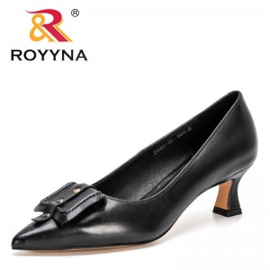 ROYYNA 2021 New Designers Genuine Leather High Heels Pumps Woman Pointed Toe Shallow Slip On Work Shoes Female Elegant Footwear