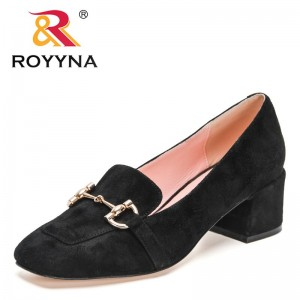 ROYYNA 2021 New Designers British Style Thick-Soled Casual Loafers Women Genuine Leather Fashion Shoes Ladies Office Dress Shoes