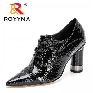 ROYYNA 2021 New Designers High Heel Women Pump Lace Up Shoe Pointed Toe Shoes Ladies Patent Leather Pump Office Shoes Feminimo