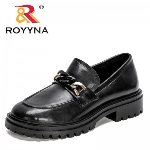 ROYYNA 2021 New Designers Platform Heels Shoes Ladies Genuine Leather Shoes Women Chunky Heel Pumps Feminimo Office Dress Shoes