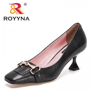 ROYYNAROYYNA 2021 New Designers Genuine Leather Pumps Women Heels Metal Decration Shoes Ladies Square Toe Office Dress Shoes Loafers