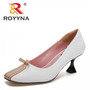 ROYYNAROYYNA 2021 New Designers Top Quality Genuine Leather Pumps Women Square Toe Thin Heels Dress Shoes Ladies Luxury Brand Footwear