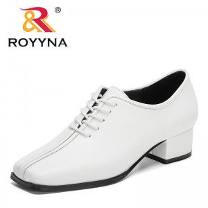 ROYYNA 2021 New Designers Block Heel Shoes Ladies Office Shoes Women Short Heels Fashion White Pumps Feminimo Zapatos Mujer