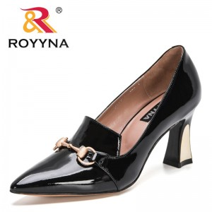 ROYYNA 2021 New Designers Classics Luxury Patent Leather High Heels Pumps Women Office Metal Buckle Dress Wedding Shoes Ladies