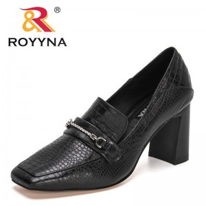 ROYYNA 2021 New Designers Thick Heels Shoes Women Pumps Brand Genuine Leather Square Toe Ladies Luxury Fashion Party Dress Shoes