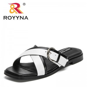 ROYYNA 2021 New Designers Popular Slippers Casual Shoes Women Mixed Color Chaussure Femme Slip-On Beach Flip- Flops Shoes Ladies