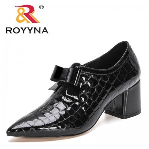 ROYYNA 2021 New Designers Genuine Patent Leather Fashion High-heel Pumps Women Pointed Toe Office Dress Shoes Lady Wedding Shoes