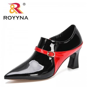 ROYYNA 2021 New Designers Patent Leather High Heels Lady Pointe Toe Pumps Female Wedding Bridal Shoes Office Dress Shoes Women