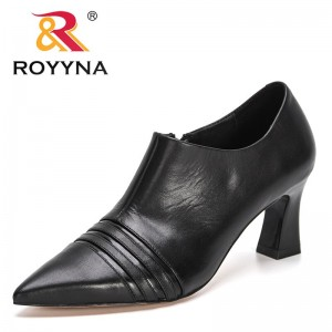 ROYYNA 2021 New Designers Classic Women Pointed Toe Pumps Genuine Leather Dress High Heels Boat Party Wedding Zapatos Mujer