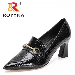 ROYYNA 2021 New Designers Brand Metal Buckle Pointed Toe Pumps Women Heels Luxury Patent Leather Stiletto Ladies Office Shoes